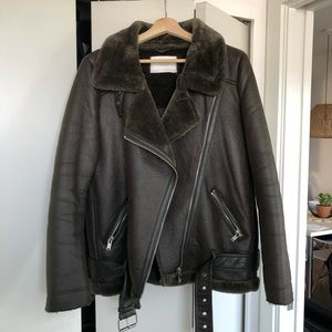 Zara Faux Leather With Fur Lining Biker Jacket